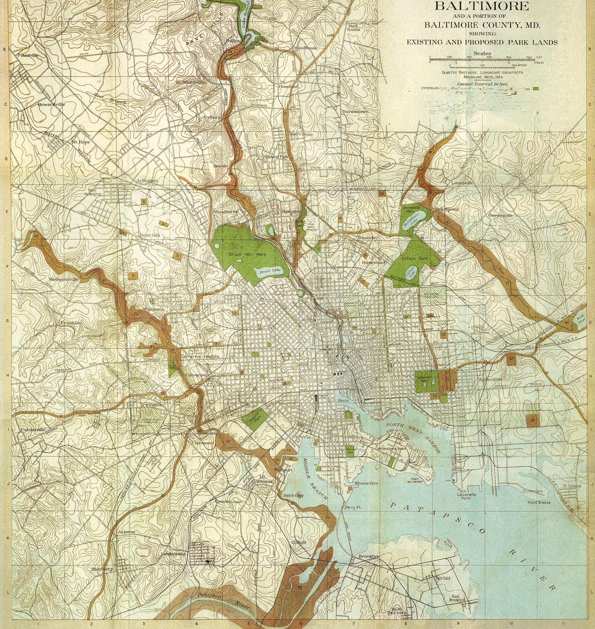 Map from the 1904 report on recommendations for Baltimore's park system by the Olmsted Brothers, under the direction of Frederick Law Olmsted, Jr. The report highlighted the importance of securing the stream valleys as natural corridors and protected watersheds. A copy of the map is included in the reprint edition of the 1904 report (available for purchase; see the Publications page of the web site).
