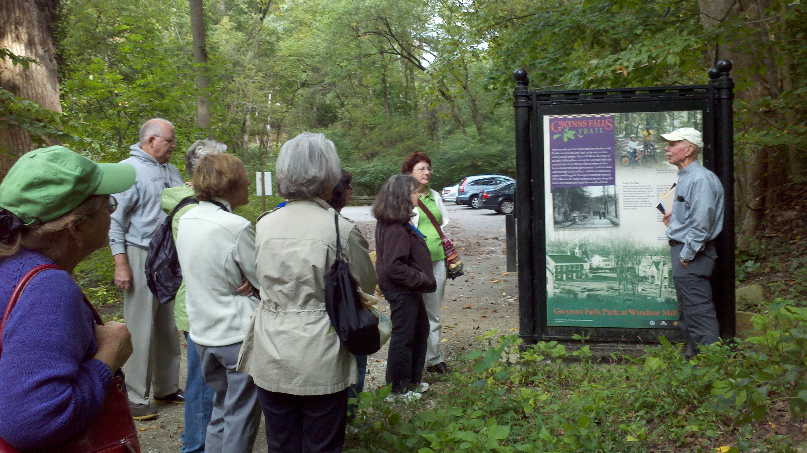 Ed Orser leading a tour of the Gwynns Falls Trail for students in the 2013 Odyssey course.