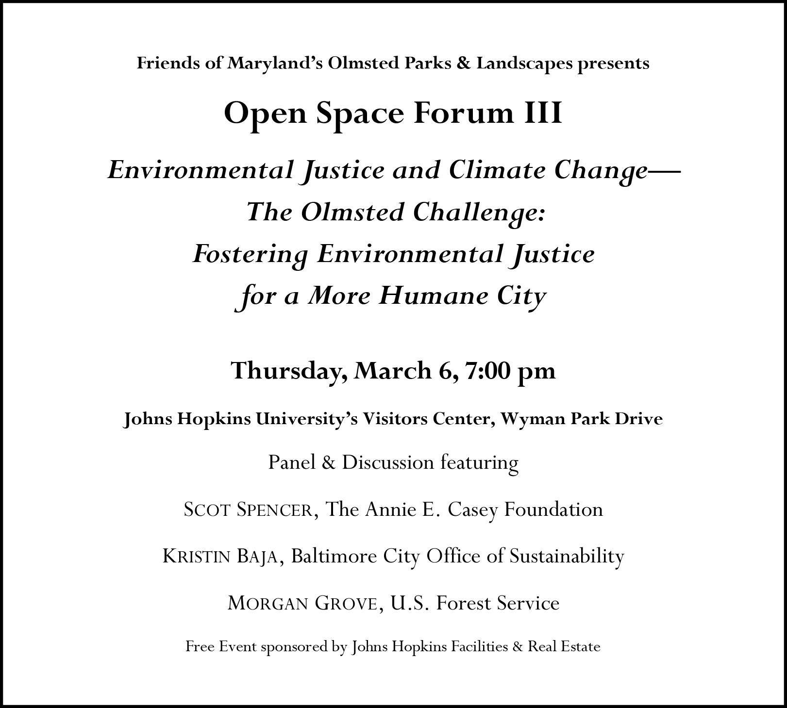 Open Space Forum III announcement March 6, 2014