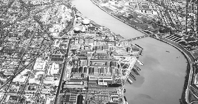 View of the Anacostia River at the 11th Street Bridge, Navy Yard and Anacostia neighborhood. 1960.