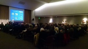 Rutherford Platt speaking to a packed house at the Maryland Historical Society.