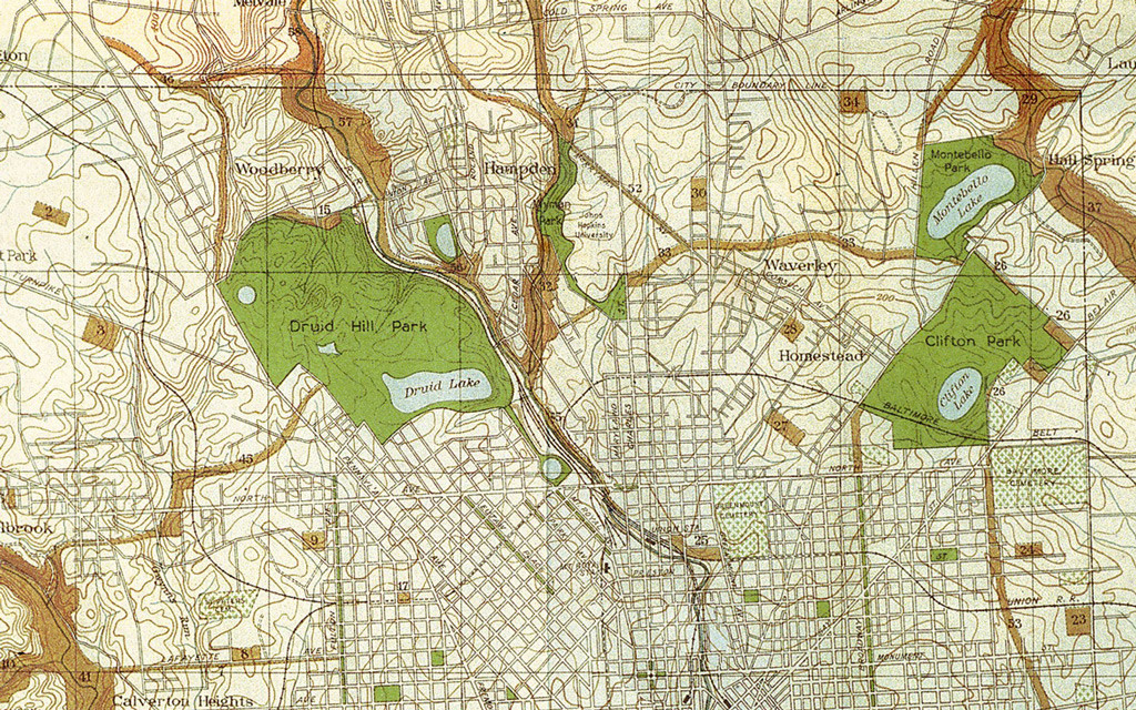 Excerpt from the map of the 1904 Olmsted Report.