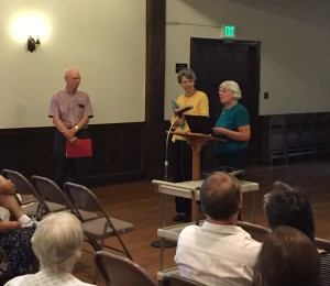 Emeritus Directors Judy Dobbs and Sandy Sparks thanking outgoing Board President Ed Orser for his leadership.